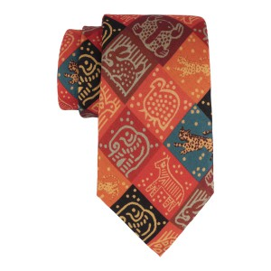 Orange Animal Blocks 60% Silk 40% Cotton Necktie