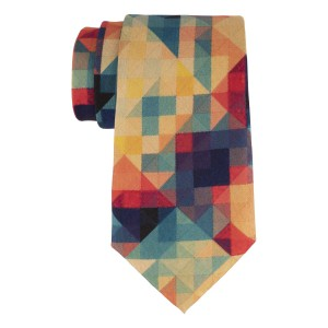 Multicolor Pixal 60% Silk 40% Cotton Necktie