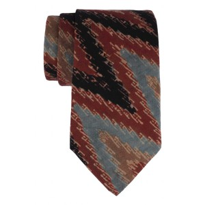 Brown, Black and Blue Ikkat 100% Cotton Necktie