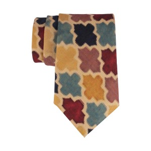 Multicolor Vegetable Print 60% Silk 40% Cotton Necktie
