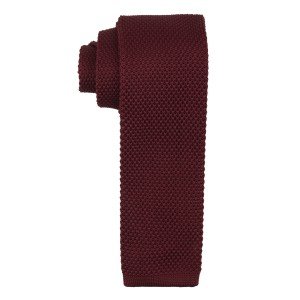 Time Solid - Burgundy Knitted Skinny Necktie by The Tie Hub