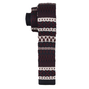 Navy Blue and Burgundy Slim Handmade Knitted Necktie