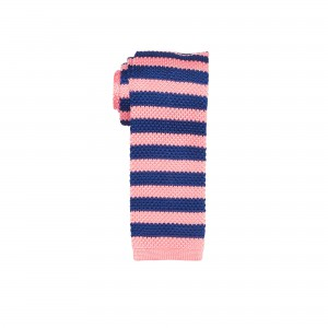 Rumbler Pink and Blue striped Knitted Necktie by The Tie Hub