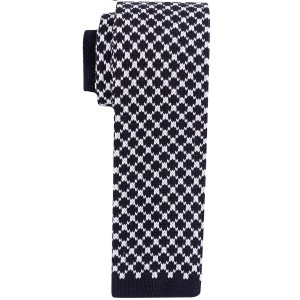 Rancho Plaid Black and White Slim Handmade Knitted Necktie