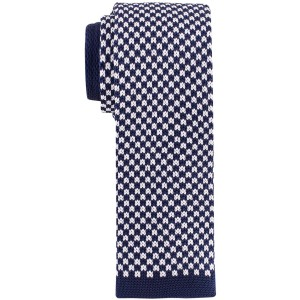 Navy Blue and White Plaid Slim Handmade Knitted Necktie
