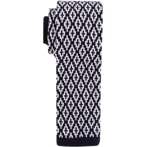 Black And White Plaid Slim  Knitted Necktie