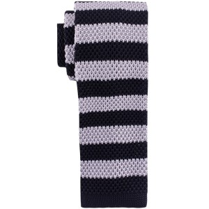 Zebra Cross Stripe Black And Grey Slim Handmade Knitted Necktie