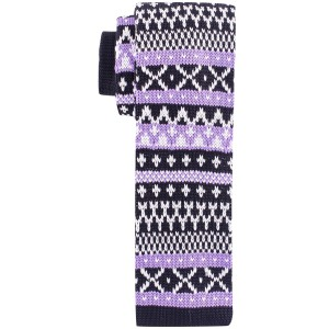Heritage Purple and Black Slim Handmade Knitted Necktie