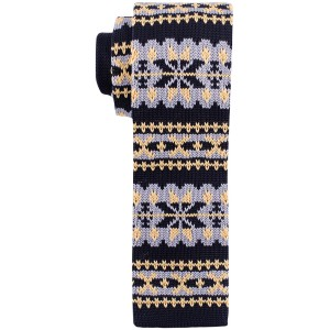 Heritage Yellow And Cream Slim Handmade Knitted Necktie