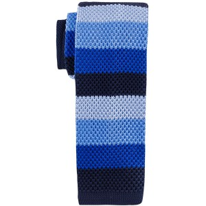 Edition Striped Blue Slim Handmade Knitted Necktie