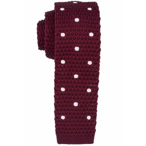 Rosewood Maroon with White Polka Dots Slim Handmade Knitted Necktie