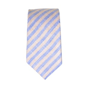 Blue and Brown Stripes Regular Handmade 100% Pure Linen Necktie
