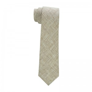 Patix Plaid Brown and White Slim Handmade 100% Linen Necktie