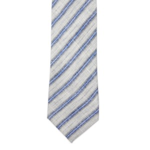 Surf side Stripe Grey and Blue Regular Handmade 100% Linen Necktie