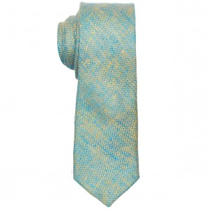 Two tone Solid Teal Slim Handmade 100% Pure Linen Necktie