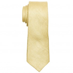 Deboniar Solid Yellow 100% Pure Linen Neck Tie