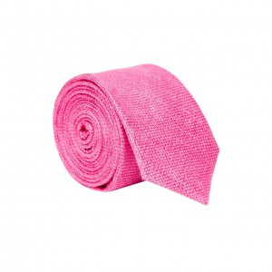 Twotone Solid Pink 100% Pure Linen Neck Tie
