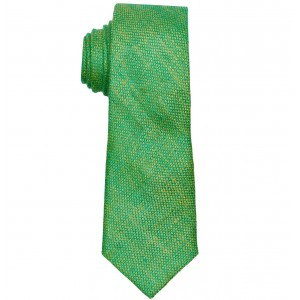 Twotone Solid Green 100% Pure Linen Neck Tie