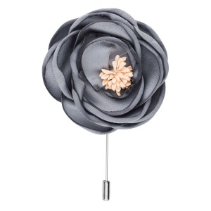 Buttercup  Grey Flower Lapel Pin