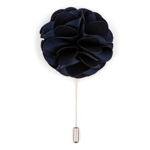 Blue Big Marigold  Flower Lapel Pin