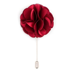 Maroon Big Marigold  Flower Lapel Pin