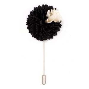 Black/White Shade Flower Lapel pin
