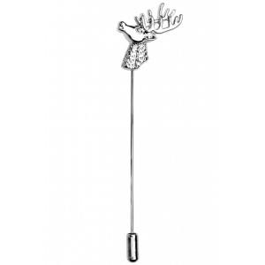 Stag head Silver Lapel Pin