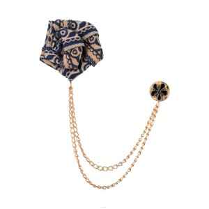 Blue And Cream Flower Lapel Pin