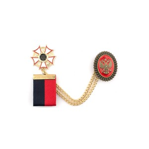 Blue and Red Badge Metal Lapel Pin