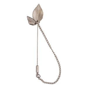 Leaf Gunmetal Chin lapel Pin