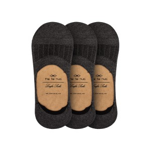 Pack of 3 Corty Solid dark Grey loafer socks