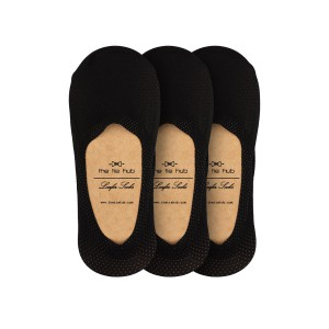 Pack of 3 Breathable Black Loafer Socks - Silicon lining
