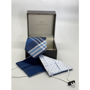 Blue Checkered Microfiber Necktie Combo