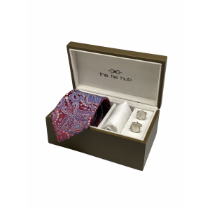 Twill Paisley Red 100% Silk Necktie with Pocket Square and MOP Cufflink Gift Set