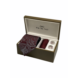 Twill Paisley Maroon 100% Silk Necktie with Pocket Square and MOP Cufflink Gift Set