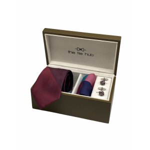 Solid Maroon and Grey 100% Silk Necktie with Pocket Square and Cufflink Gift Set