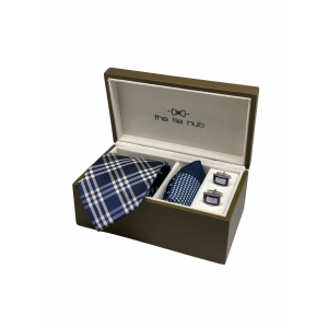 Pittsfield Plaid Blue 100% Silk Necktie with Pocket Square and MOP Cufflink Gift Set