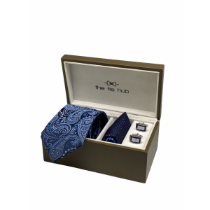 Navy Blue Paisley 100% Silk Necktie with Pocket Square and MOP Cufflink Gift Set