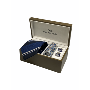 Honour Navy Blue Stripes 100% Silk Necktie with Pocket Square and MOP Cufflink Gift Set