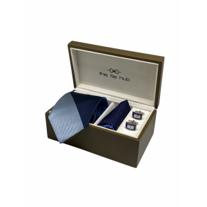 Honour Blue and Silver Stripes 100% Silk Necktie with Pocket Square and MOP Cufflink Gift Set