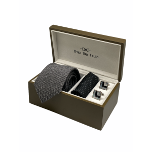 Grey Lined Textured 100% Silk Necktie with Pocket Square and MOP Cufflink Gift Set