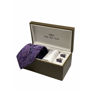 Purple Paisley 100% Silk Necktie with Pocket Square and MOP Cufflink Gift Set