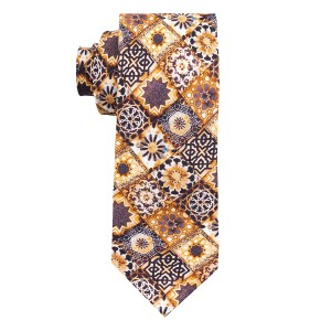 Historical Print Golden 100% Silk Necktie