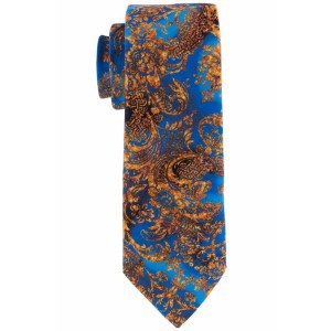 Floral Blue And Gold Slim 100% Silk Necktie