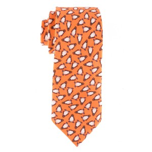 Orange with Penguin Motif Regular 100% Silk Necktie