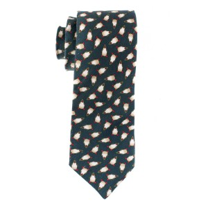 Army Green with Penguin Motif Regular 100% Silk Necktie