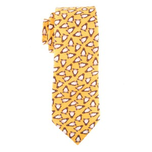 Penguin Print 100% Silk Yellow Necktie
