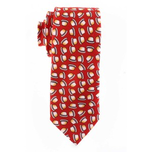 Hat Print 100% Silk Red Necktie