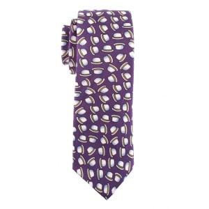 Purple with Hat Motif Regular 100% Silk Necktie