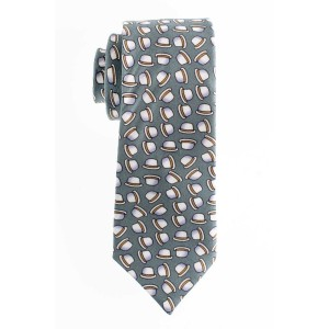 Grey with Hat Motif Regular 100% Silk Necktie